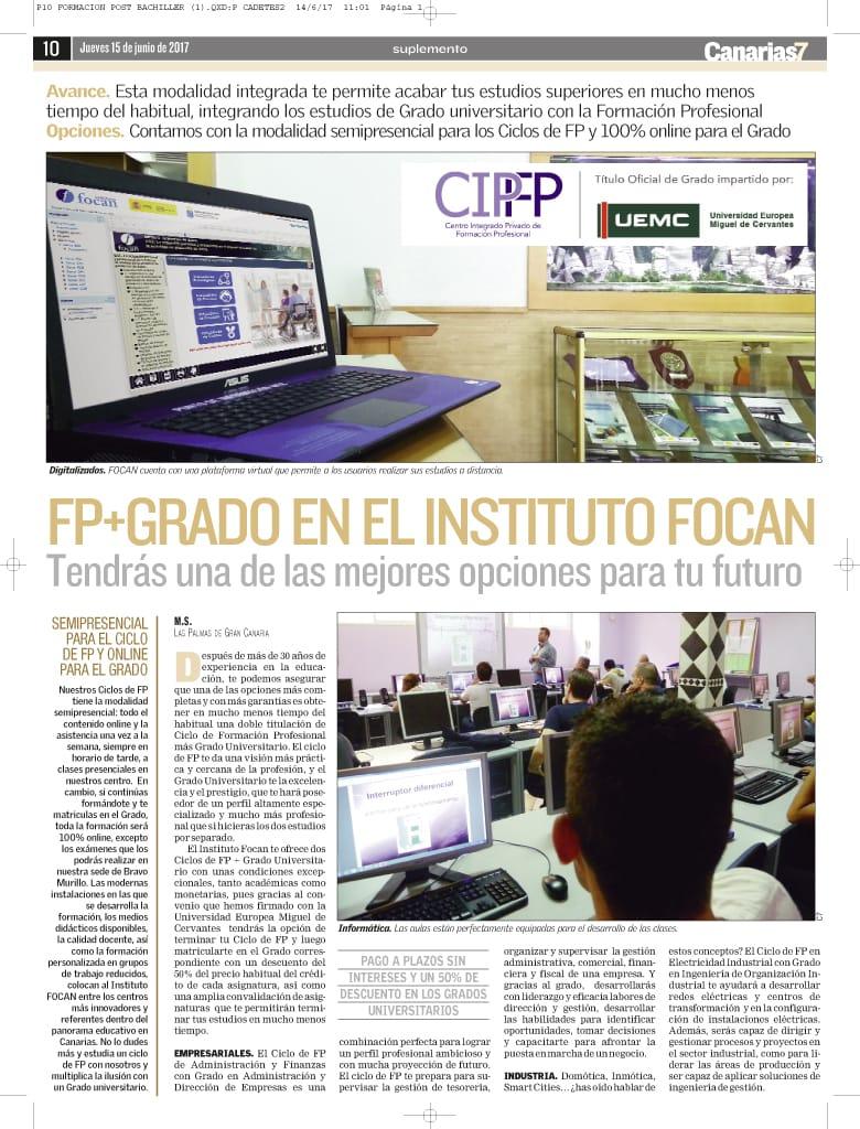 Artículo en Canarias7 de los ciclos de fp con grado universitario en Instituto Focan