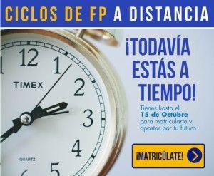 Primer plano reloj.Todavía estás a tiempo de matricularte en Ciclos de FP a distancia en Instituto Focan