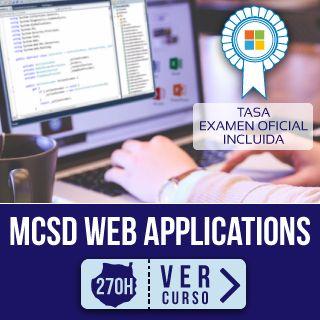 Primer plano pantalla y manos escribiendo código para curso MCSD Web Applications en Focan Las Palmas