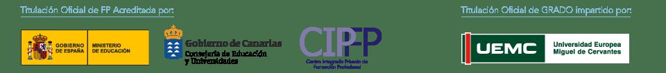 Titulacion oficial CIclos FP homologada por el Ministerio De Educación y el Gobierno de Canarias. Grado Impartido por la Universidad Europea Miguel de Cervantes