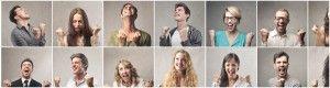 Collage de personas con gesto de triunfo