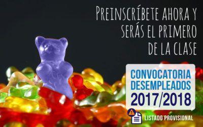 Listado PROVISIONAL de Cursos para Desempleados 2017/18